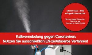 Kaltvernebelung gegen Corona: Sinnvoll und EN-zertifiziert
